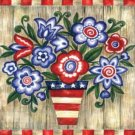 AMERICAN PATRIOTIC FLOWERS LARGE HOUSE FLAG  - Free ship