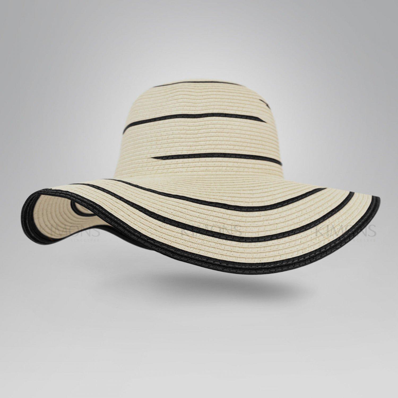 Beige Floppy Hat Brim with Ribbon Women Folding Summer Beach Sun Straw Beach Hat - Free Ship