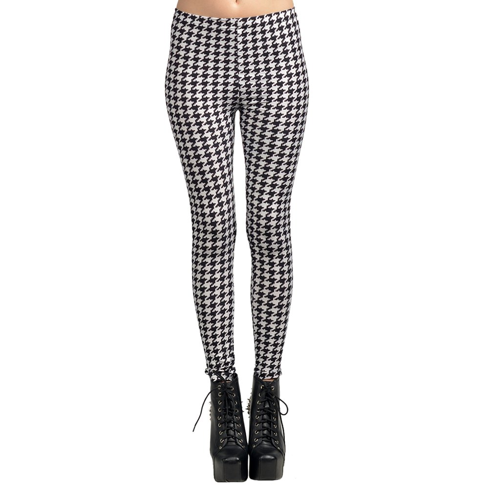 Black and White Spot Hot Sexy Lady Pattern Print Women Leggings Tights Pencil Skinny Pant Free Ship