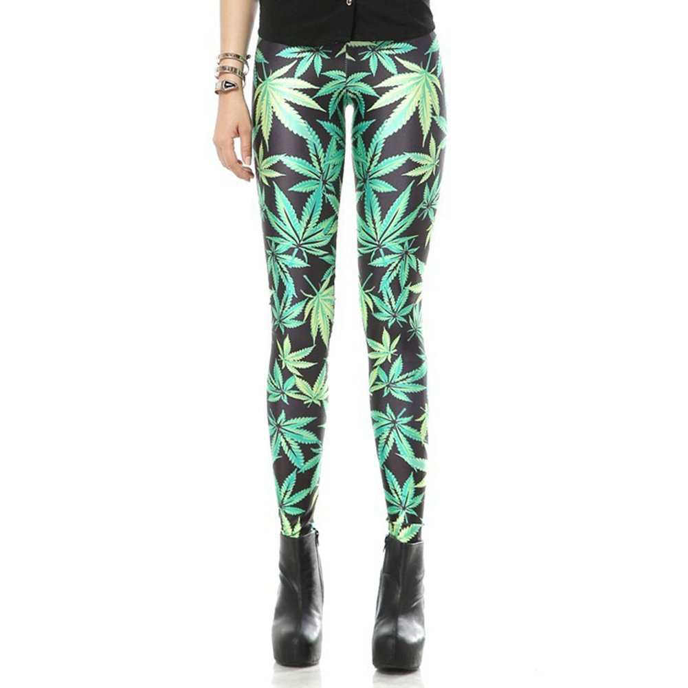 Leaf Design Hot Sexy Lady Pattern Print Women Leggings Tights Pencil Skinny Pant Free Ship