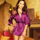 Sexy Lingerie Satin Lace Purple Kimono Intimate Sleepwear Robe Night Gown Size M - Free ship