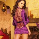 Sexy Lingerie Satin Lace Purple Kimono Intimate Sleepwear Robe Night Gown Size L - Free ship