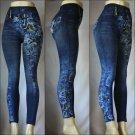 Women's Fashion Jeggings Jeans Look Printed Leggings Pants Stretchy Skinny Slim Free Ship
