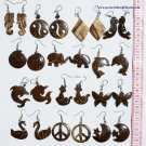 8 Pair Hand Carved Coco Earrings Tribal Natural Jewelry