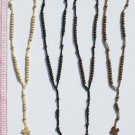 3 Wooden Cross Brown Round Seed Beaded Church Necklaces