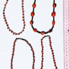 3 Red Seed Necklaces Artisan Beaded Crafted Jewelry Art