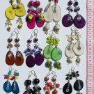 6 Pairs Color Natural Material Tagua Seed Earrings Peru