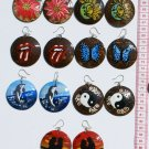 6 Pairs Round Coconut Wood Earrings Hand Painted Art