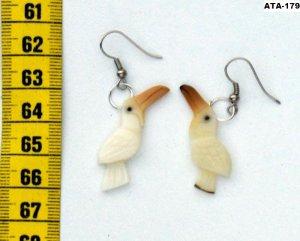 Dangle Handmade Artisan Tagua Nut Earrings with Birds