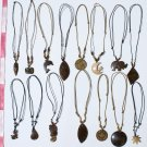 10 Necklaces Hand Carved Coconut Figurines Jewelry Peru