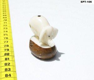 Hand Carving Pig Swine Tagua Farm Figurine, Art Ecuador
