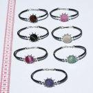 5 Cuff Bangle Bracelets Round Natural Agate Gemstones