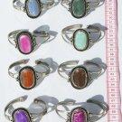 4 Metal Cuff Bangle Bracelets Natural Agate Stones Peru