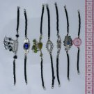 7 Black Leather Artisan Bracelets Natural Stones, Glass