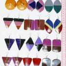 6 Pairs Wooden Hand Painted Dangle Earrings Tribal Peru