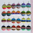 6 Pairs Wood Earrings Hand Painted Tribal Art Ornaments