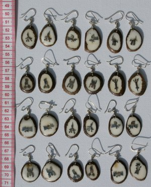 7 Pairs Tagua Dangle Earrings Metal Nazca Lines Peru