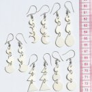 Lot 5 Pairs White Carved Earrings Jewelry Art Wholesale