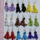 5 Pairs Round Tagua Earrings with Color Pearls Jewelry