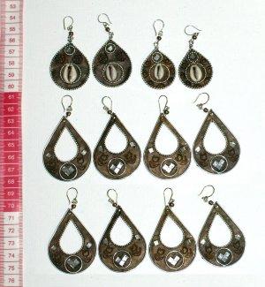 5 pairs metal earrings ethnic drawings models jewelry