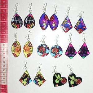 8 pairs earrings color ethnic ornament peruvian jewelry