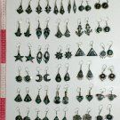 7 pairs small earrings bull horn and green-blue stones