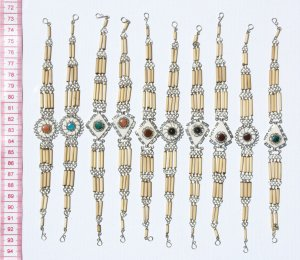 6 Bamboo Wood Link Bracelets Ethnic Peruvian Jewelry