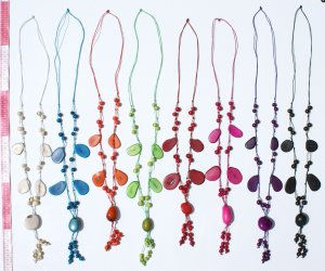 5 Necklaces Color Tagua Nut Handmade Jewelry Wholesale