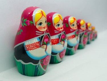 Matryoshka, Babushka or Babooshka, Stacked Russian Wood Nesting Dolls for Sale Gifts 7pc