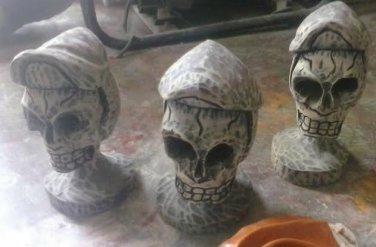 One Authentic Wooden Haitian Vodou Skull Hand Carved Handmade Sculpture Haiti
