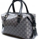 Gucci Crystal Boston Handbag 272375 in Silver with Black Logo