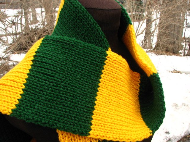 "Long Custom Knit Striped Rugby Scarf  5"" x 80"" - You choose two colors"