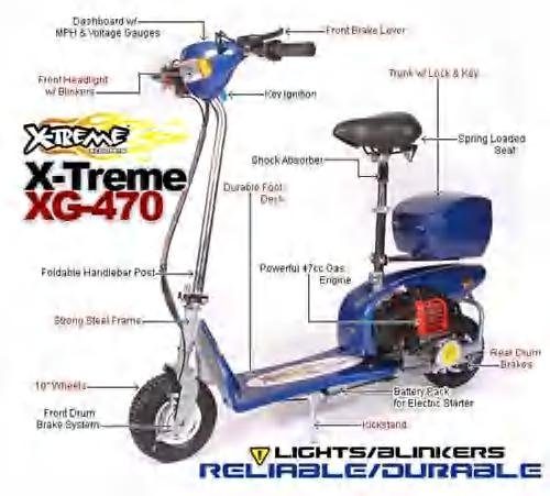 XG-470 X-Treme 49cc Gas Scooter Model