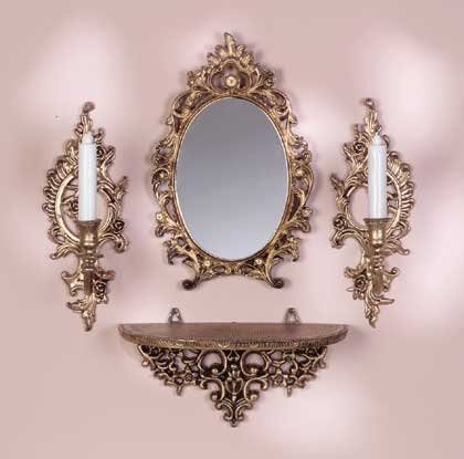Baroque Mirror and Candle Sconces