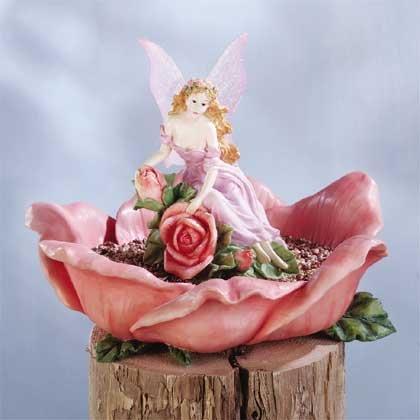 Fairy on a Rose Bird Feeder