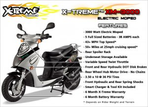 X-Treme 3000 Electric Powered Moped Motorcycle