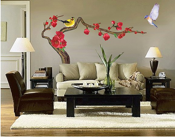 CP-034 Bird Flower Tree Wall Decor Art Adhesive Sticker - Free shipping