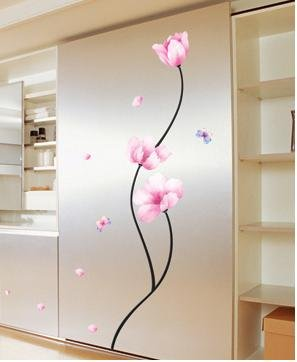 KR-011 Rose Pink Flower Adhesive Peel & Stick Wall Decor Art Sticker - Free shipping