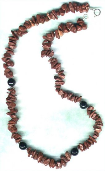 "Men's Mahogany Obsidian Gemstone Beaded Necklace ""Choc Rocks"" - PreciousThings.ecrater.com"