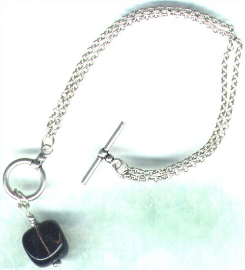 Sterling Silver Smoky Quartz Gemstone Fob Bracelet - PreciousThings.ecrater.com