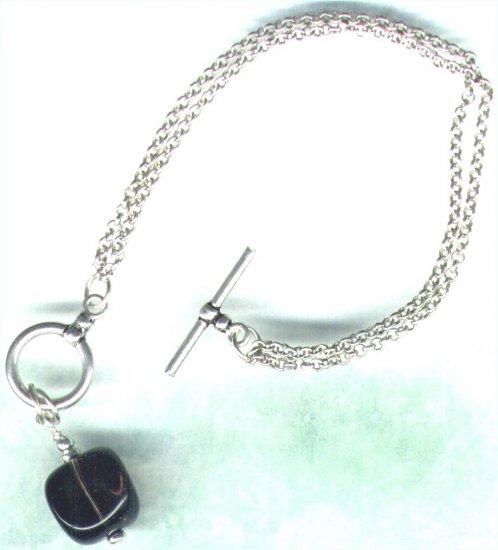 Sterling Silver Smoky Quartz Gemstone Fob Bracelet - PreciousThings.ecrater.com