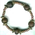 Dark Brown Ghanian Glass Elasticated Beaded Bracelet - PreciousThings.ecrater.com