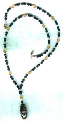 Handmade Black 'Y' Shaped Beaded Necklace  with Decorated Pendant - PreciousThings.ecrater.com