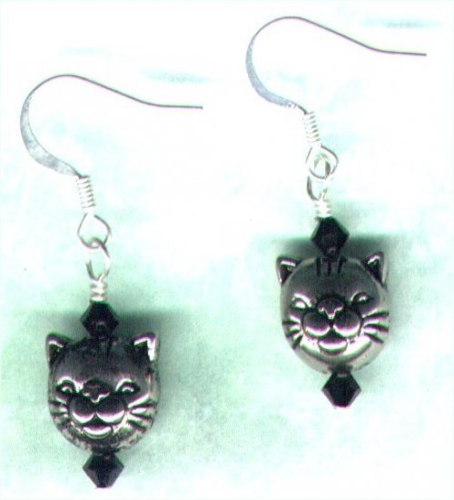 "Crystal Beaded Earrings ""Black Cat"" - PreciousThings.ecrater.com"