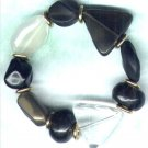 "Elasticated Chunky Acrylic Beaded Bracelet ""Faux Jet"" - PreciousThings.ecrater.com"