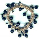 "Elasticated Black Glass Beaded Charm Bracelet ""Razzle Dazzle"" - PreciousThings.ecrater.com"