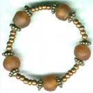 Handmade Topaz Ghanian Glass Elasticated Beaded Bracelet - PreciousThings.ecrater.com