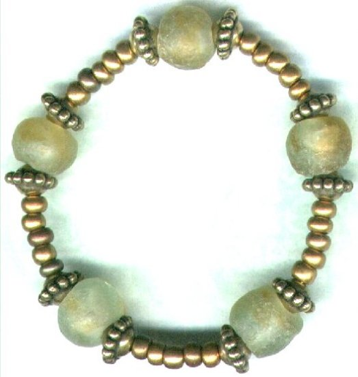 Elasticated Yellow/Green Ghanian Glass Beaded Bracelet - PreciousThings.ecrater.com