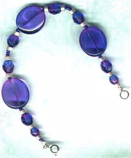 "Bicoloured Glass Handmade Beaded Bracelet ""Sapphire & Amethyst"" - PreciousThings.ecrater.com"