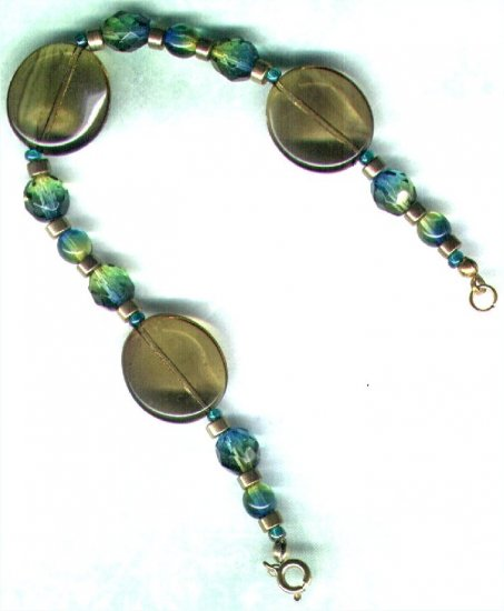 "Handmade Bicoloured Glass Beaded Bracelet ""Peridot & Peacock"" - PreciousThings.ecrater.com"
